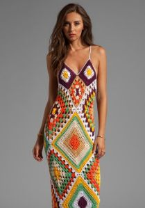 Indah Syra Crochet Maxi Dress in Gold Mix $120